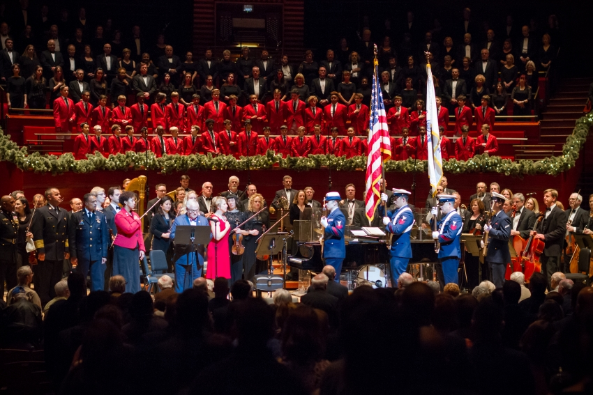 fourth annual comcast nbcuniversal event opens philly pops christmas concert series and features uso troupe 300 performers on stage santa carolers